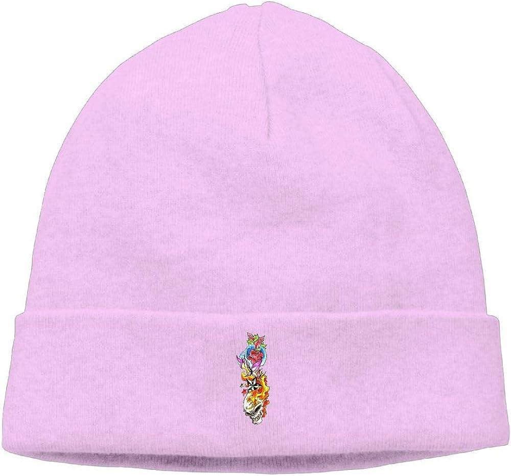 nordic runes Flower Fire Skull Cool Tattoo Beanie Hat Winter Warm Knit Skull Cap for Mens//Womens