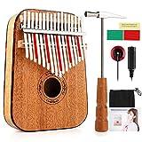 Vangoa 17 key Kalimba Thumb Piano, Solid Finger piano African Music Instrument, Portable Mahogany Wood with Tuning Hammer, Cloth Bag, pickup and key stickers