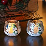 Home-X Snowmen Candleholders. Crackle Glass Candle Holders. Set of 2