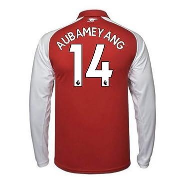 8fee0106b37 2017-18 Arsenal Home Long Sleeve Football Soccer T-Shirt - Kids (Pierre  Emerick Aubameyang 14)  Amazon.co.uk  Sports   Outdoors