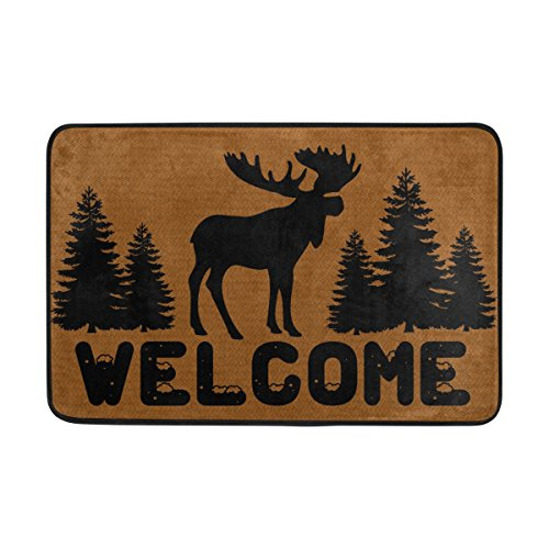 (Naanle Entrance Doormat Moose Elk Forest Welcome Christmas Indoor Outdoor Door Mat Non-Slip Doormat 23.6 by 15.7 Inch Machine Washable Polyester Fabric)