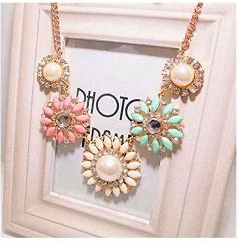 Floral Flower Statement Necklace Colorful
