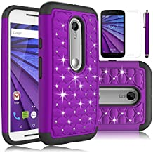 Moto G 3rd Gen Case, Moto G (2015) Case, EC™ Studded Rhinestone Case, Dual Layer Crystal Bling Hybrid Armor Case Cover for Motorola G 3rd Generation (2015) (Bling-Purple)