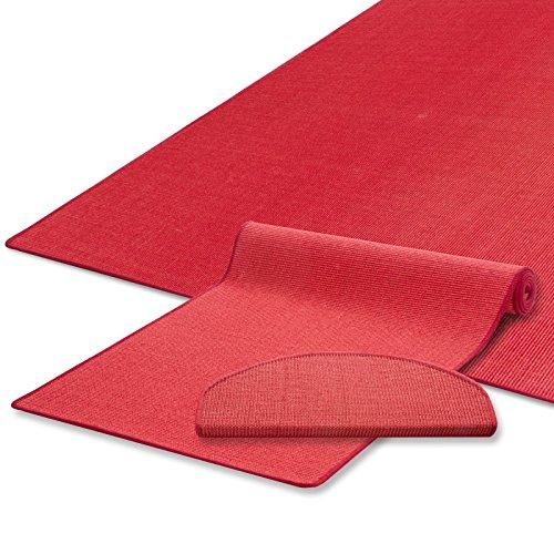 Sisal Teppich / Läufer | uni rot | Naturfaser | Qualitätsprodukt aus Deutschland | kombinierbar mit Stufenmatten | 19 Breiten und 18 Längen (60x80 cm)