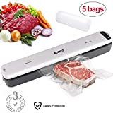 Vacuum Sealer ACRATO Food Packing Machine with Hose Automatic Vacuum Air Sealing System Plus 5pcs FREE Sealer Bags for Kitchen Dry & Moist Food Preservation and Compact Clothing Jewelry