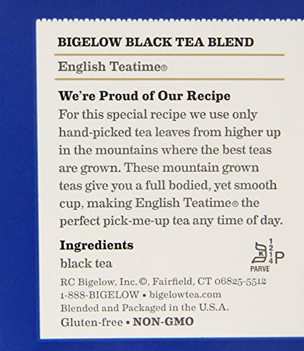 Bigelow English Teatime Tea 20 Bags (Pack of 6), 120 Tea Bags Total.  Caffeinated Individual Black Tea Bags, for Hot Tea or Iced Tea, Drink Plain or Sweetened with Honey or Sugar 4 TEA TIME ANY TIME: Start your morning with English Teatime (it's a great coffee substitute) or add a little honey splash of milk and a book on the side for the perfect cozy tea time treat. With a flavor so rich and robust one cup may not be enough INDIVIDUALLY WRAPPED: Bigelow tea always come individually wrapped in foil pouches for peak flavor, freshness, and aroma to enjoy everywhere you go! Non GMO Verified, Gluten -free, calorie-free, & Kosher certified; Bigelow tea delivers on all the health benefits of tea. TRY EVERY FLAVOR: There's a Bigelow Tea for every mood and every time of day. Rise and shine with English Breakfast, smooth out the day with Vanilla Chai, get an antioxidant boost from Green Tea, or relax & restore with one of our variety of herbal teas.
