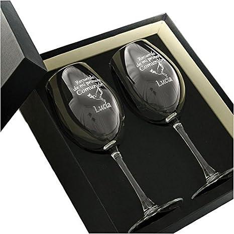 Regalo de primera comunión personalizable: Copas de vino grabadas con el nombre que tú quieras