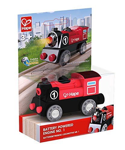 Battery Engine Train Powered Thomas (Hape Wooden Railway Battery Powered Engine No. 1 Kid's Train Set)