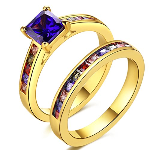 SAINTHERO Women's Pretty 18K Gold Plated Princess Cut 0.5 Carat Purple CZ Anniversary Wedding Band Engagement Solitaire Ring Enhancer Bridal Sets Size 6