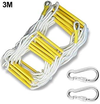 Escalera de Cuerda de Escape de Incendio, Escalera de emergencia contra incendios, Escalera blanda - Escalera de cuerda de seguridad resistente al fuego Capacidad de peso de hasta 2500 libras: Amazon.es: Bricolaje