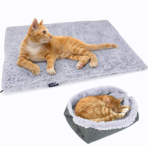 Pedy Plush Pet Bed - Foldable Furry Washable Dog Bed & Cozy Mat for Small/Medium Dogs and Cats