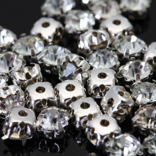 F Fityle 2X 40pcs L/âche /à Coudre /à Facettes sur Cristal Diamante Strass Perles 5mm