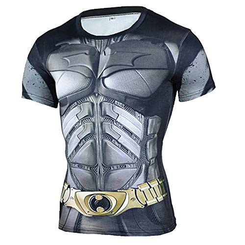PKAWAY Mens Short Sleeve Compression Workouts Shirt Batman Gym T Shirt -