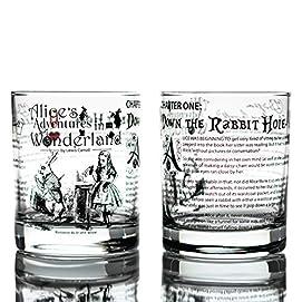 V/&a Alice In Wonderland Set Of 2 Highball Glasses 330ml Gift Boxed