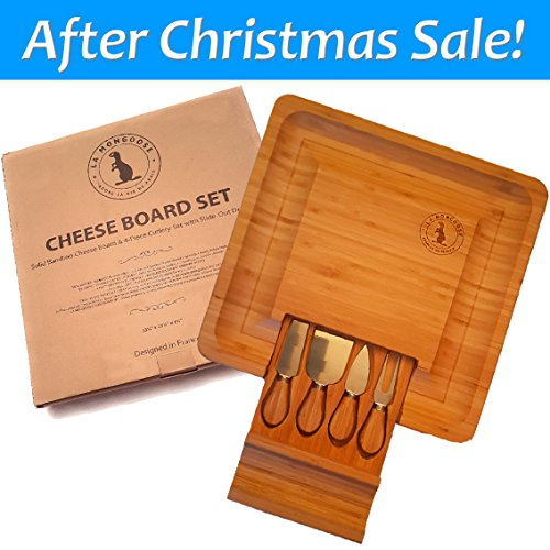 100% Natural Large Bamboo Cheese Board with 4 Piece Cutlery Set, Cracker Groove and Slide Out Drawer. Great for Cutting Cheese, Bread, Fruit and Meats. Ideal For Xmas. 13.25 x 13.25 x 1.6