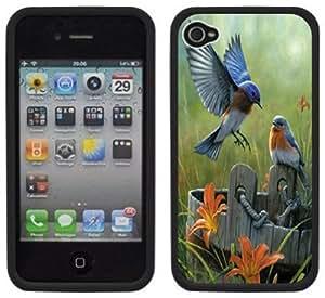 Bluebirds Blue Birds Handmade iPhone 4 4S Black Hard Plastic Case