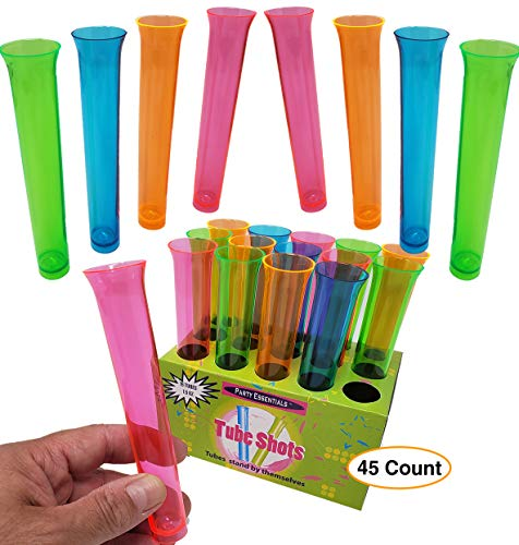Neon Color Tube Shots Glasses - 1.5 oz | Premium Test Tube Glasses for Party (45 Count)