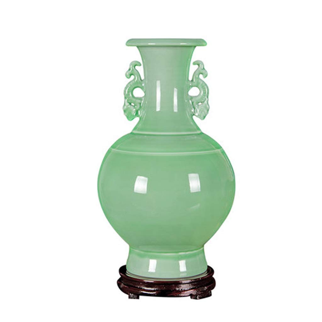 MAHONGQING セラミックスアンティークグリーン釉バイノーラル花瓶フラワーアレンジメント中国風クラシックホームリビングルームの装飾飾り B07T35LW44