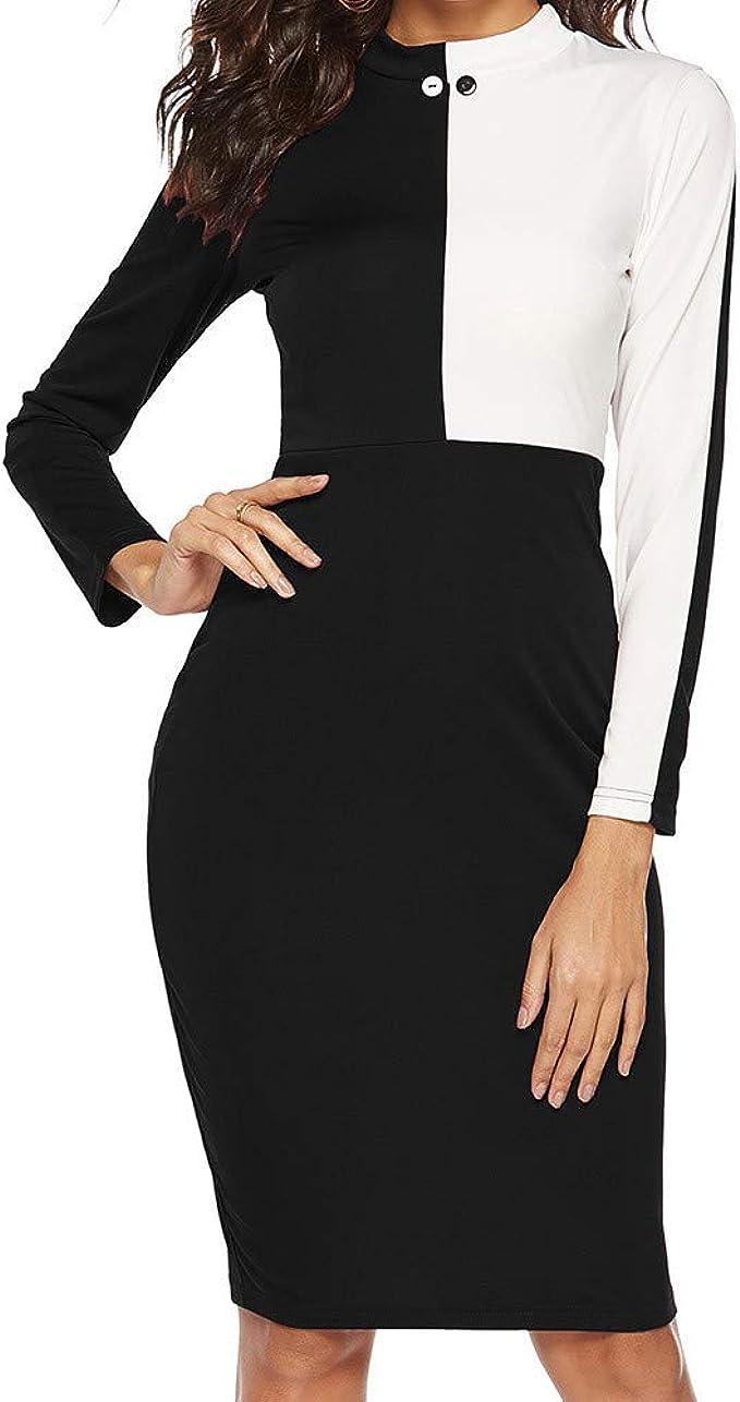 MRULIC Damen Working Dresses Pencil Gestreiftes Party-Kleid beiläufige  Minikleider Slim-Fit Abendkleid Taille Gürtel