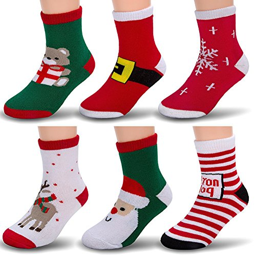 6 Pack Baby Boy Girl Toddler Socks Christmas Holiday Cotton Funny Crew Socks for Gift (Decorations Raindeer)