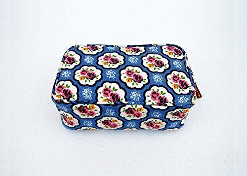 Blue beauty case, motivo rose, stile shabby chic, laminato, borsa, finiture in pelle, make up o per cosmetici, borsello.