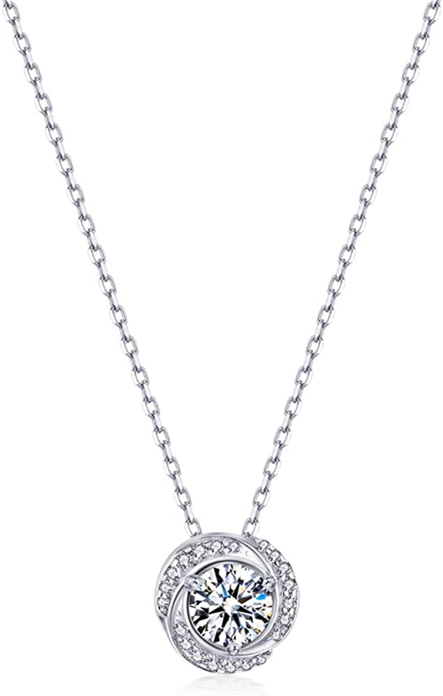 Collares Mujer Zirconia de Swarovski Colgante Plata de Ley 925 Adjustable Cadena 45+5 cm Regalo para el Día de San Valentín Día de la Madre