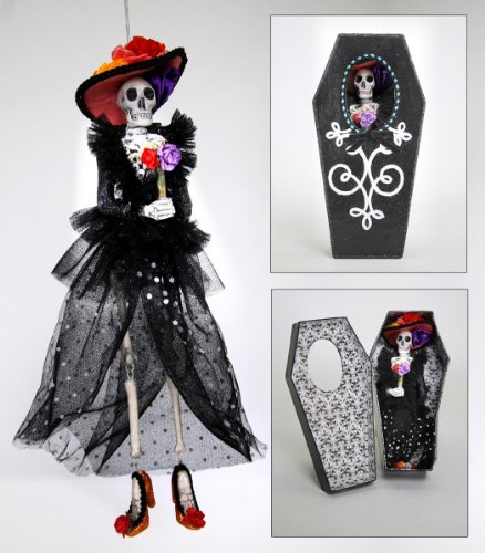 DAY OF THE DEAD Skeleton Figural Ornament In Coffin Gift (Day Of The Dead Pumpkin)