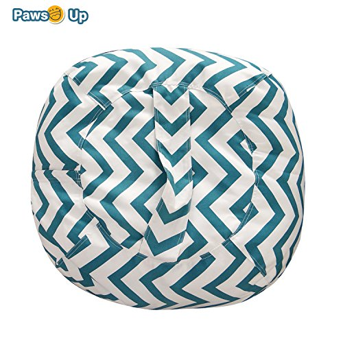 Canvas Ottoman - Stuffed Animal Storage Bean Bag Style - The POPULAR Geometric Stripe Pattern Print Canvas Toy Organization Storage Bag Ready to Filled with Stuffed Toys. REINFORCED SEAMS,Large 18
