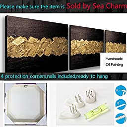 Sea Charm - Elegance Canvas Wall Art Modern Handmade Oil Painting Black and Gold Abstract Artwork Wood Inside Framed Home Living Room Decoration Wall Hanging Art Set of 3