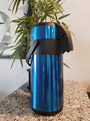 TherMite Airpot Coffee/Beverage Dispenser with Pump. [Midnight Blue], 3 Liter (102 oz), Insulated Double-Walled Stainless Steel Thermal Carafe to Keep Drinks Hot or Cold by Thermite (Image #4)