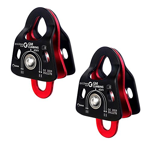 - GM CLIMBING 40kN Micro Double Pulley Prusik Minding Ball Bearing UIAA CE for Progress Capture System Rigging Hauling Rescue Arborist Tree Climbing (Pack of 2)