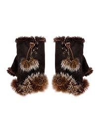 ZLYC Women Teen Classic Winter Warm Rabbit Fur Hands Wrist Fingerless Gloves Brown
