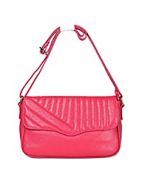 SAIERLONG Women's Tote Single Shoulder Bag Handbag Rose Pink Cow Leather