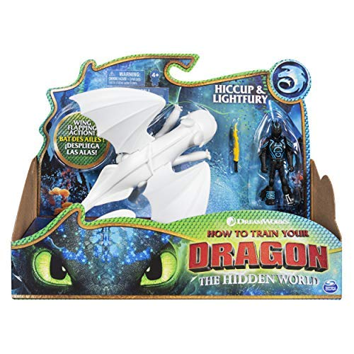 - Dreamworks Dragons, Lightfury and Hiccup, Dragon with Armored Viking Figure, for Kids Aged 4 and Up