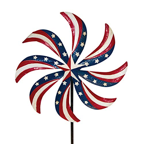 Briarwood Lane Patriotic Pinwheel Metal Wind Spinner USA Yard Stake 20
