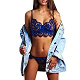 AOmahh 2 Piece Sexy Lingerie Lace Babydoll Nightgown Sleepwear Underwear Bow Bra and Panty Set Blue
