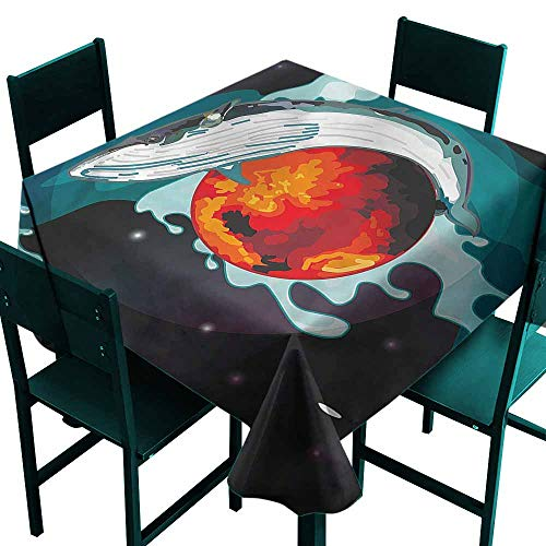 DONEECKL Polyester Tablecloth Whale Whale and Fisher Sailor Excellent Durability W54 xL54