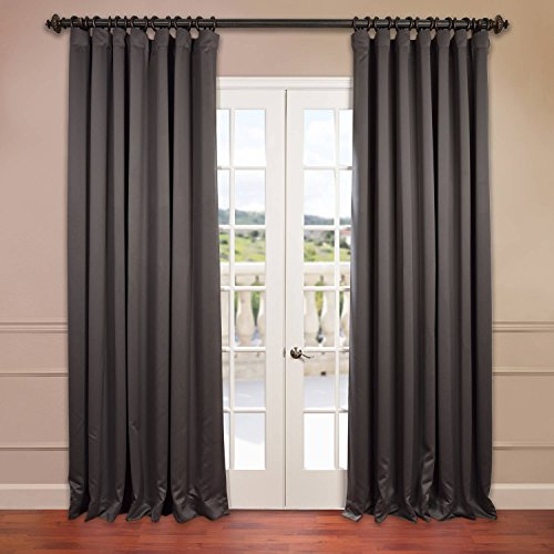 Half Price Drapes BOCH-201403-120-DW Doublewide Blackout Curtain header is Pole Pocket with Hook Belt and Back Tabs.