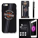 Harley Davidson iPhone 6s, iphone 6 Semi Rigid TPU Motor Oil Cover with Tempered Glass Screen Guard and Stylus Pen.