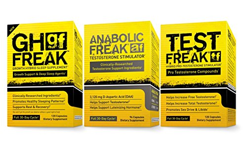 - (1) PHARMAFREAK Test Freak Testosterone Booster (1) PHARMAFREAK Anabolic Freak Testosterone Booster and (1) GH Freak -