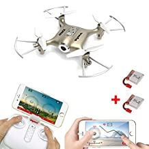 Syma X21W (+Extra Battery) 720P HD Wifi Camera FPV Mini Drone - Touchscreen Flightplan & Gyro Control with App - Altitude Hold - iOS Android - RC Quadcopter (Gold)