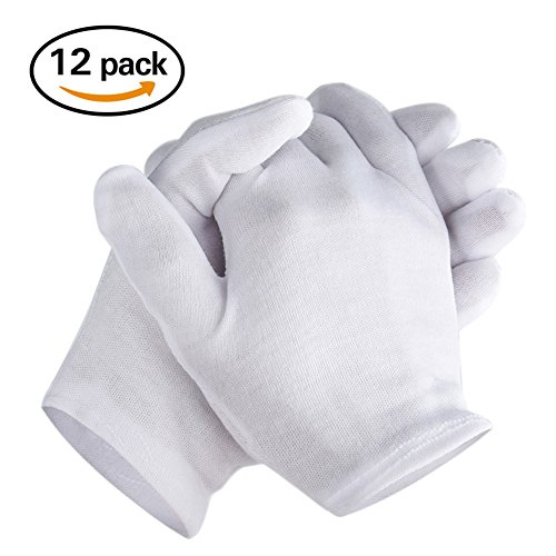 Coin Costumes (Zealor 6 Pairs White Cotton Gloves for Cosmetic Moisturizing Coin Jewelry Inspection Hand Spa, Medium)