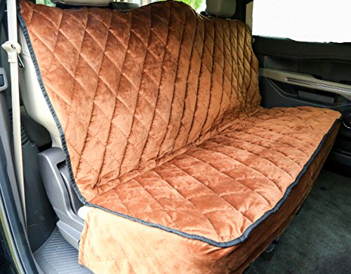 Plush Paws Ultra-Premium Velvet Pet Seat Cover, Without Hammock, Full Waterproof for Cars, Trucks & SUVs, Chocolate Reg Size