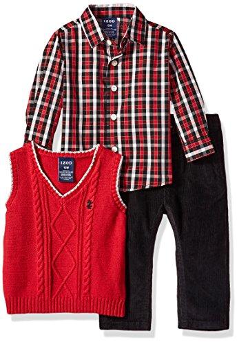 Izod Baby Boys' Three Piece Sweater Vest Set, Red, 24M