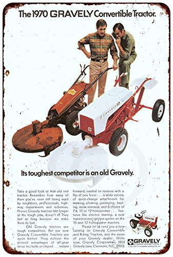 - 1970 GRAVELY Convertible Tractor Vintage Look Reproduction 8 x 12 Metal Sign