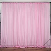 BalsaCircle 10 feet x 10 feet Sheer Voile Backdrop Drapes Curtains Panels - Pink