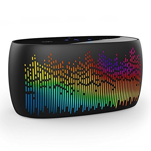 SOAIY S-52 Wireless NFC/Bluetooth 4.0 Speaker w/ LED Spectrum Light Show (Built-in MIC, AUX Jack, TF Card Slot, Touch Panel, Voice Prompt) for iPhone, iPad, Samsung, Nexus, Smartphone, Tablet (Black)