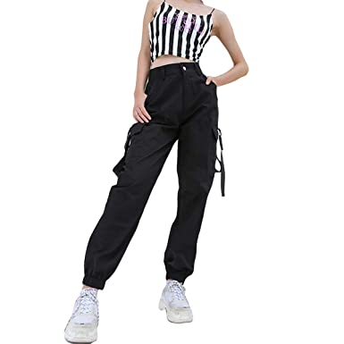 6f9b14914cf Helisopus Women s Black Stylish Loose Fit Cargo Jogger Harem Pants with  Chain Elastic Feet and Pocket