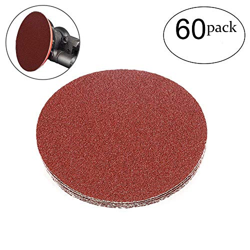 HIFROM 5 Inch Sanding Discs NO-Hole Hook and Loop 40 Grit Sandpaper Aluminum Oxide Random Orbital Sander Pads (60-Pack) by HIFROM (Image #7)