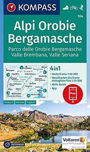 Alpi Orobie Bergamasche: 4in1 Wanderkarte 1:50000 mit Aktiv Guide und Detailkarten inklusive Karte zur offline Verwendung in der KOMPASS-App. Fahrradfahren. Skitouren. (KOMPASS-Wanderkarten, Band 104) Landkarte – Folded Map, 18. August 2017 KOMPASS-Karten